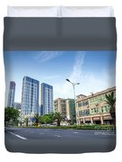 Skyscrapers And Road In Downtown Xiamen City China Duvet Cover
