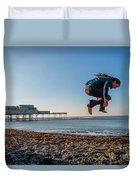 Slacklining On Aberystwyth Beach Duvet Cover