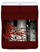 Slc Temple Red White N Black Duvet Cover by La Rae  Roberts