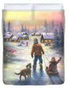 Sledding To The Village Duvet Cover