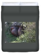 Sleeping In The Jungle - Stone Face In Forest Duvet Cover