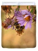 Sleepy Bee On New England Aster Vertical Duvet Cover