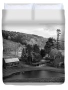 Sleepy Hollows Farm Woodstock Vermont Vt Pond Black And White Duvet Cover