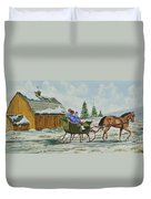Sleigh Ride Duvet Cover by Charlotte Blanchard