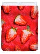 Sliced Red Strawberry Background Duvet Cover