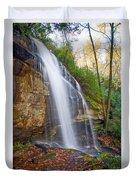 Slick Rock Falls, A North Carolina Waterfall In Autumn Duvet Cover