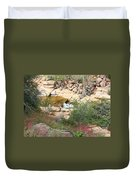 Slide Rock With Pink Wildflowers Duvet Cover