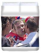S.loeb 2 Minutes After Winning Wrc Rally Bulgaria 2010 Duvet Cover