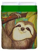 Sloth And Frog Duvet Cover