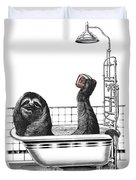 Sloth In Bathtub Taking A Shower Duvet Cover