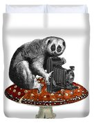 Slow Loris With Antique Camera Duvet Cover