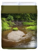 Slow River In Deep Forest Landscape Duvet Cover