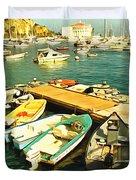 Small Boat Dock Catalina Island California Duvet Cover