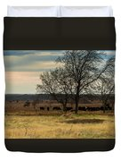 Small Herd In Winter Duvet Cover