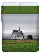 Small Icelandic Church With Gray Roof Duvet Cover