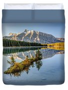 Small Island At Two Jack Lake Duvet Cover