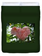 Small Orange Flower Pink Heart Leaves Duvet Cover