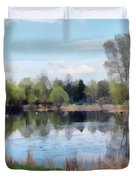 Small Pond In Tomilino Duvet Cover