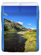 Small Red Cabin In Norway Duvet Cover