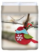 Small Red Handicraft Bird Hanging On A Wire Duvet Cover
