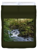 Small River Cascade Over Mossy Rocks In Northern Wales Duvet Cover