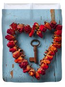 Small Rose Heart Wreath With Key Duvet Cover