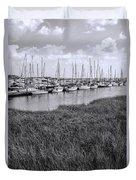 Small Sailboat Harbor Monochrome  Duvet Cover