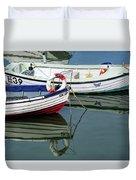 Small Skiffs - Lyme Regis Harbour Duvet Cover