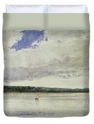 Small Sloop On Saco Bay Duvet Cover