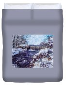 Small Stream, Snowy Scene And Waterfalls. Duvet Cover