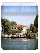 Small Town In Greece Duvet Cover