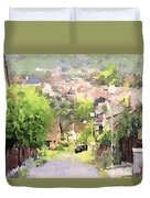 Small Town Scape Duvet Cover