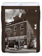 Small Town Shops - Sepia Duvet Cover