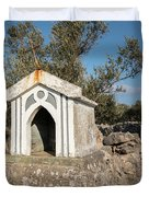 Small White Chapel On A Stone Wall Near Cres Duvet Cover