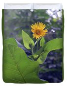 Small Yellow Flower And Green Big Leaves In The Sun Light. Duvet Cover