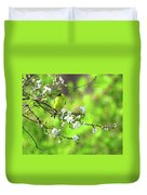 Smelling The Cherry Blossom Male  American Goldfinch Duvet Cover