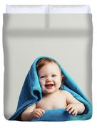 Smiling Baby Tucked In A Warm Blanket Duvet Cover
