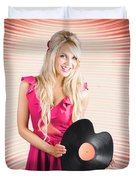 Smiling Dj Woman In Love With Retro Music Duvet Cover