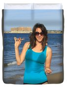 Smiling Hottie At The Beach Duvet Cover