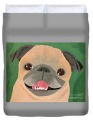 Smiling Senior Pug Duvet Cover