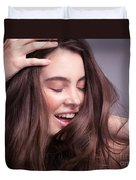 Smiling Young Woman With Long Brown Hair Duvet Cover