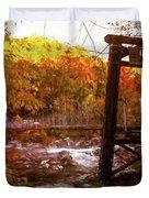 Smoky Mountain Suspension Bridge Oil Painting Duvet Cover