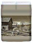 Smoky Mt Homestead - B W Duvet Cover