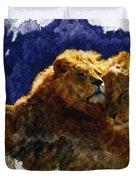 Smooching Lions Duvet Cover