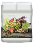 Snail With Grapes And Pears Duvet Cover