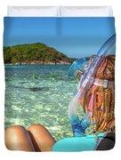 Snorkeler Relaxing On Tropical Beach Duvet Cover