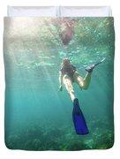 Snorkeling In Coral Reef Duvet Cover