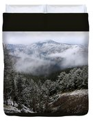 Snow And Clouds In The Mountains Duvet Cover