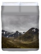 Snow And Fog Over Glengo Mountain In Scotland. Duvet Cover