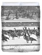 Snow And Geese On The River II Duvet Cover